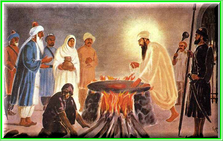 5th Guru Sahib being cooked alive.
