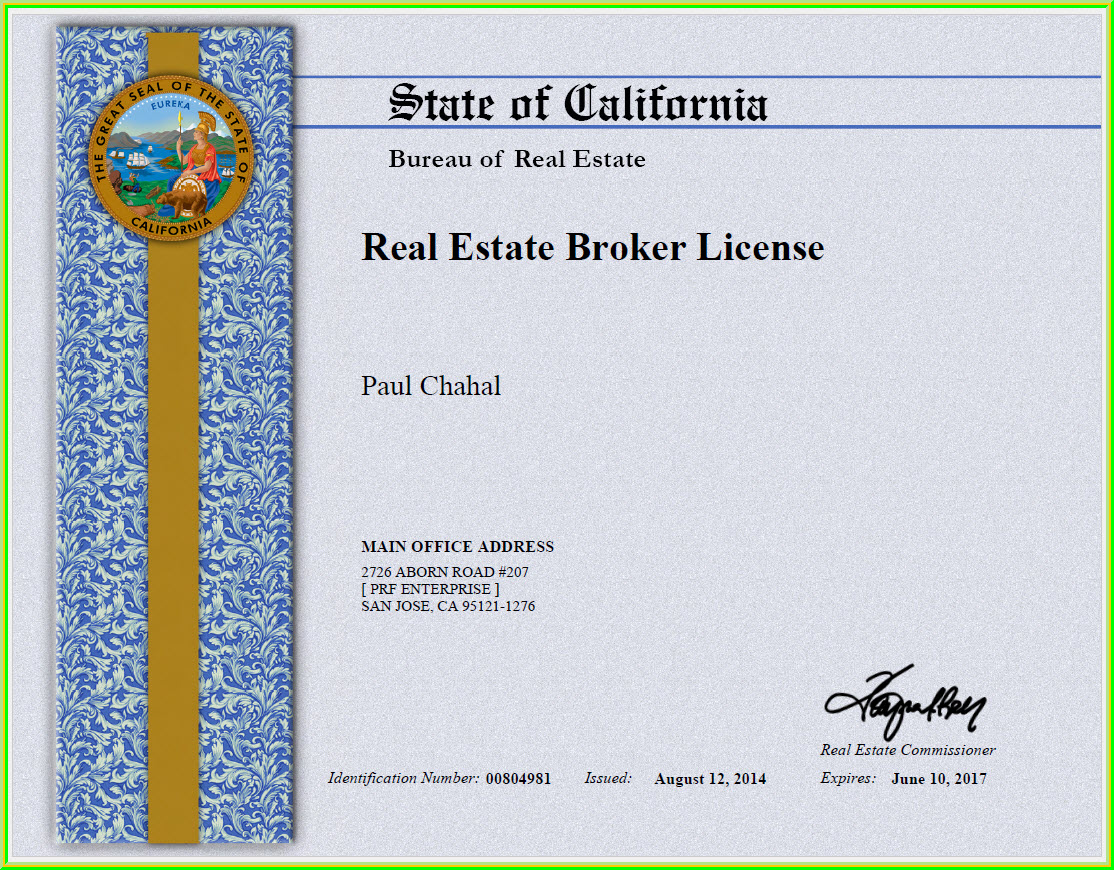 Chahalnetedu education experience service of paul real estate and finacing broker license state of california 1betcityfo Gallery